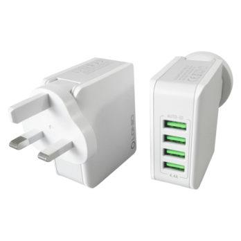 4 USB Ports Travel Adaptor Plug UK Power Plug Travel Charger Adapter